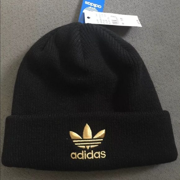 New Black   Gold Adidas Knit Beanie Hat 637d131dfe8